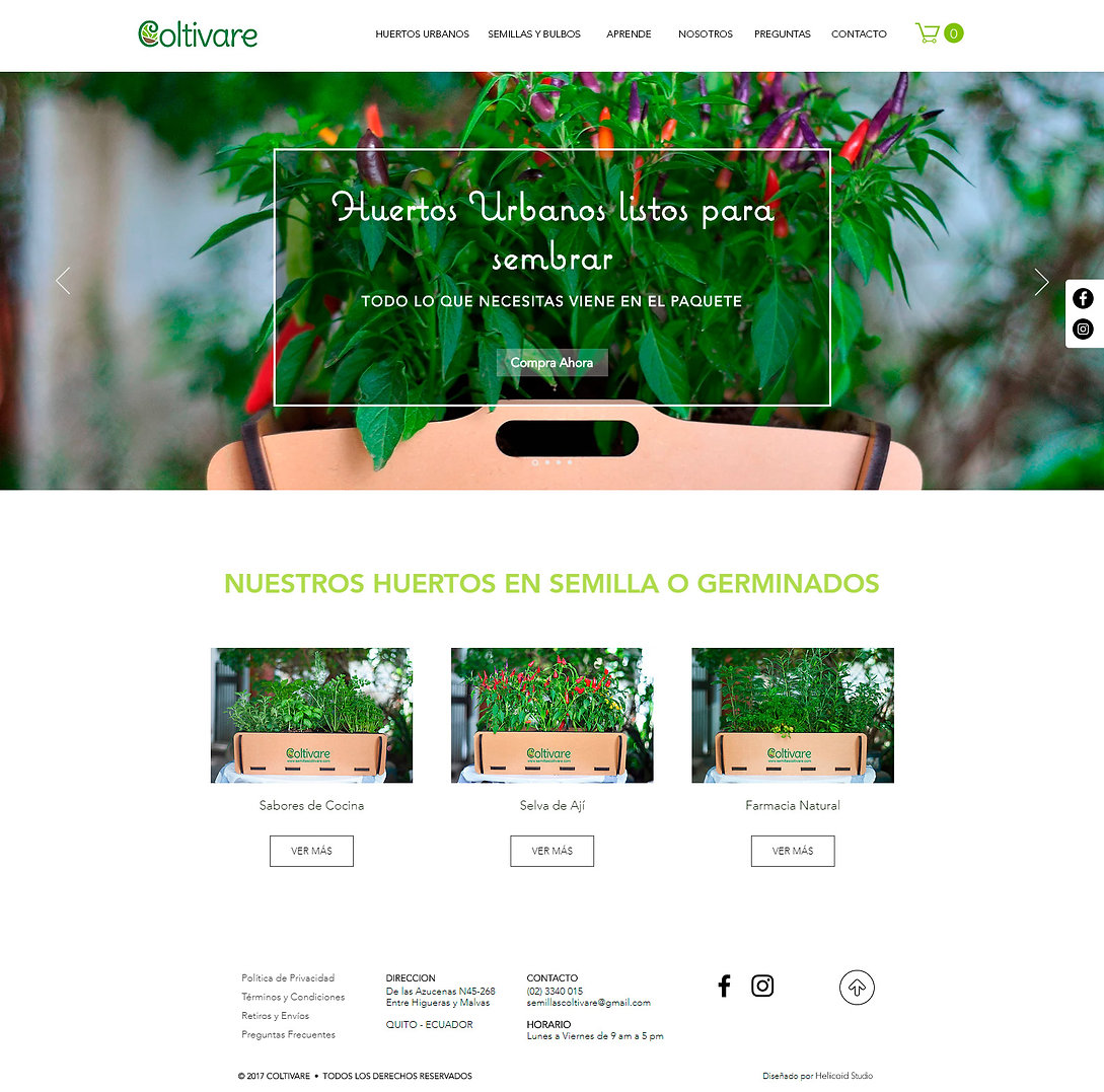 Coltivare Website Design Home Page