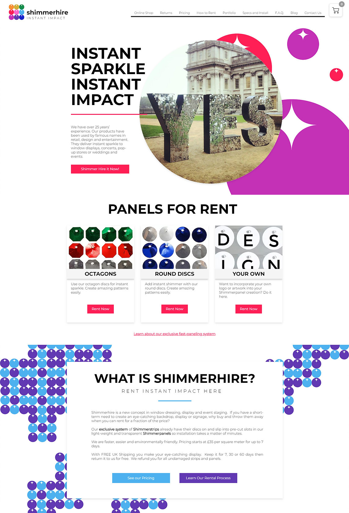 Shimmerhire Website Design