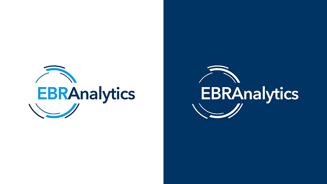 EBR Analytics Logotype color variations in white and blue background