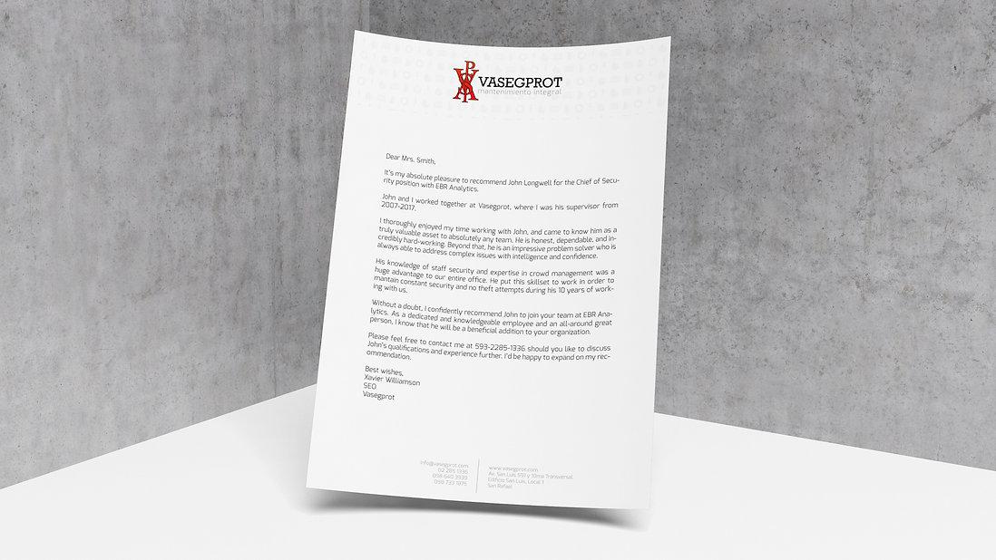 Vasegprot Letterhead Design