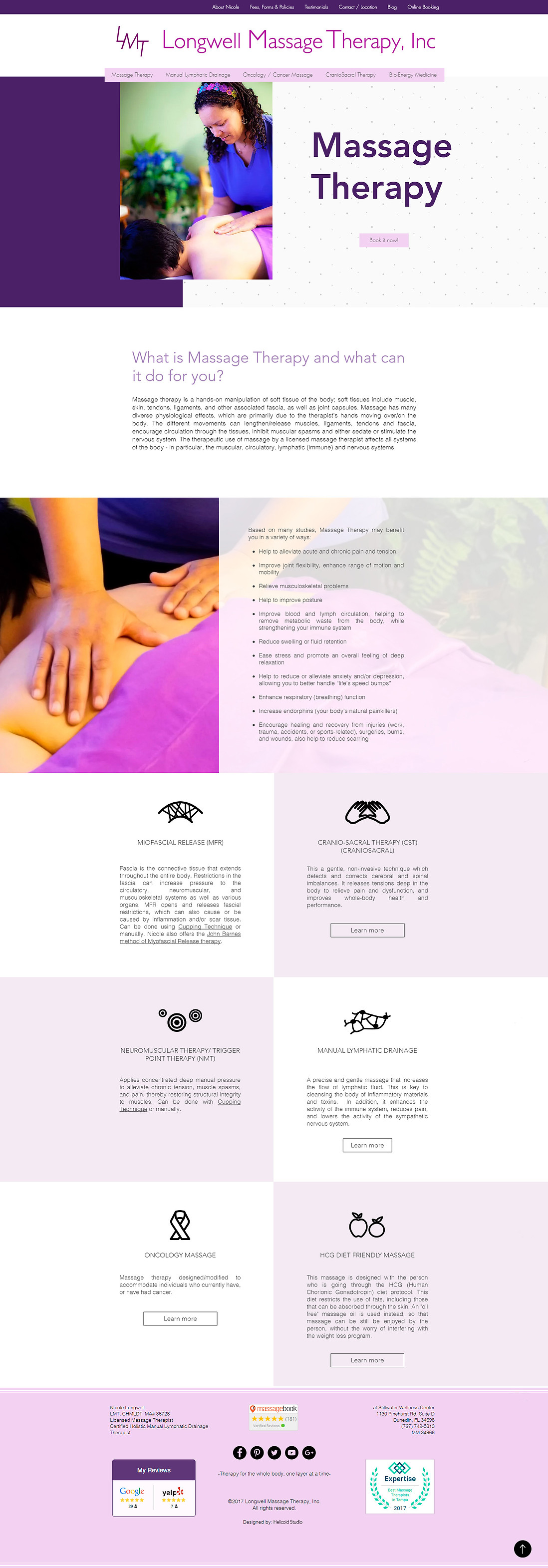 LMT Website Design Massage Therapy Page