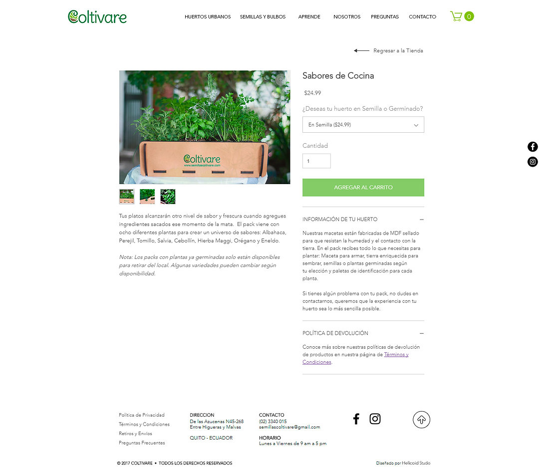 Coltivare Website Design Online Store Product Page