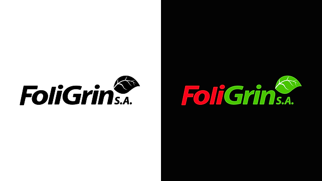 Foligrin S.A. Logotype Color Variations in black and white and over black background