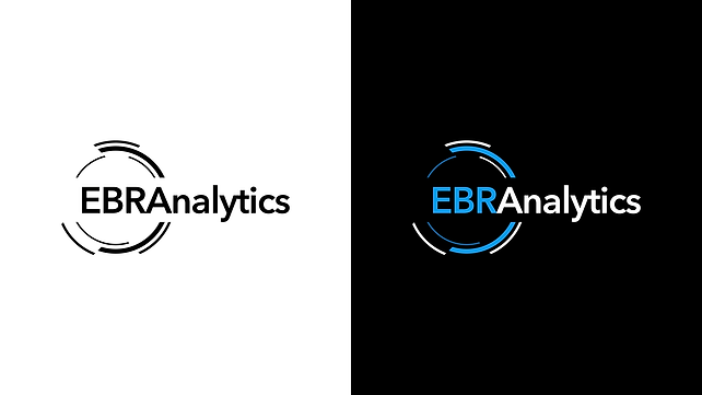 EBR Analytics Logotype color variations in blanck and white and black background