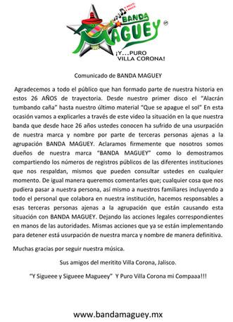 Comunicado de Prensa - Banda Maguey