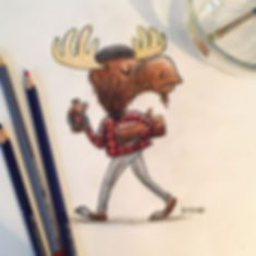 A hipster moose with all the stereotypes