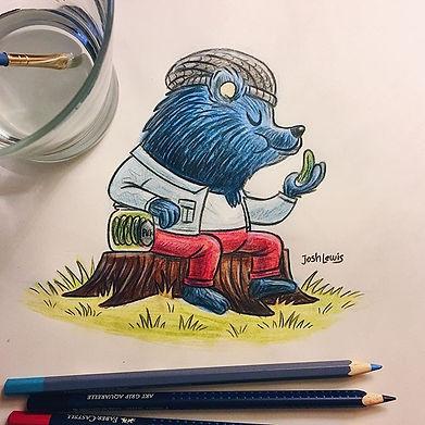 Hipster bear eating his artisanal pickle