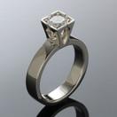 Platinum ring with round diamond