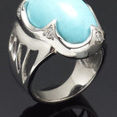 White gold ring with Sleeping Beauty turquoise and diamonds
