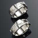 Platinum wedding bands, stepping stones pattern