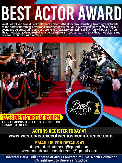 Best Actor Award registration for Actors