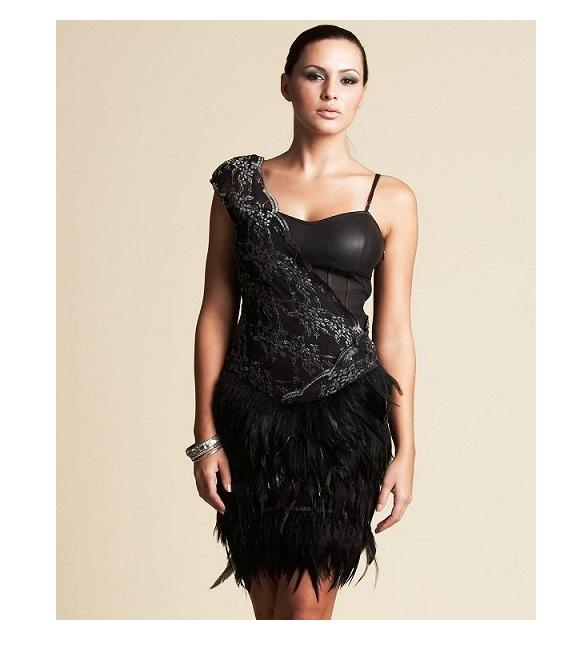 dcb984767f Kardashians by BEBE - sukienka z piórami na Bazarek.pl