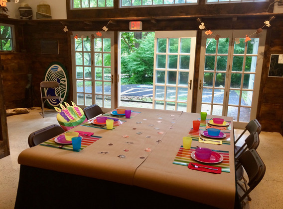 Party setup in the Interpretive Nature Center