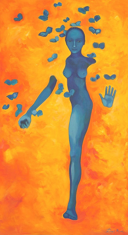 Original Blue and Orange Painting of Woman by Leopi Nicola