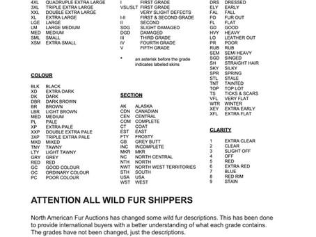 North American Fur Auctions Grading Descriptions