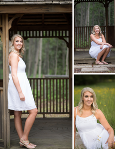 triptych, of, woman, wearing, a, white, sundress, for, her, high, school, graduation, portraits, standing, in, a, gazebo, sitting, on, the, step, of, the, gazebo, and, a, close, up, of, her, sitting, in, a, green, field, looking, off, into, the, distance