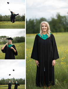 woman, in, her, cap, and, gown, for, her, high, school, graduation, she, is ,standing, in, a, green, field, with, yellow, flowers, there, are, four, photos, she, is, jumping, and, throwing, her, cap, smiling, and, laughing, a, close, up, of, her, stranding, in, her, gown, smiling, at, the, camera