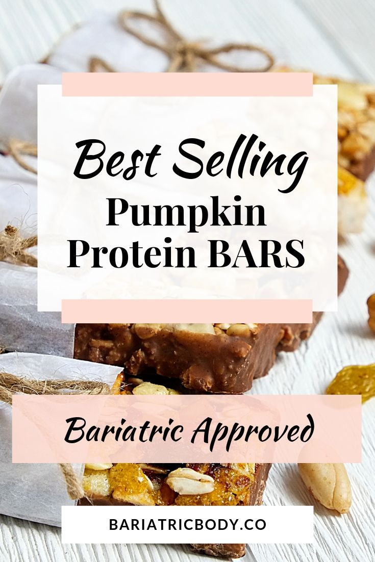 Bariatric pumpkin protein bars that taste like pumpkin spice pie, recipes, bread, muffins and much more!  You don't have to skip the pumpkin pie at Thanksgiving Holiday when these protein bars! Supplement your pumpkin pie cravings with these bars! #bariatric #gastricsleeve #wls #pumpkin #bars #protein