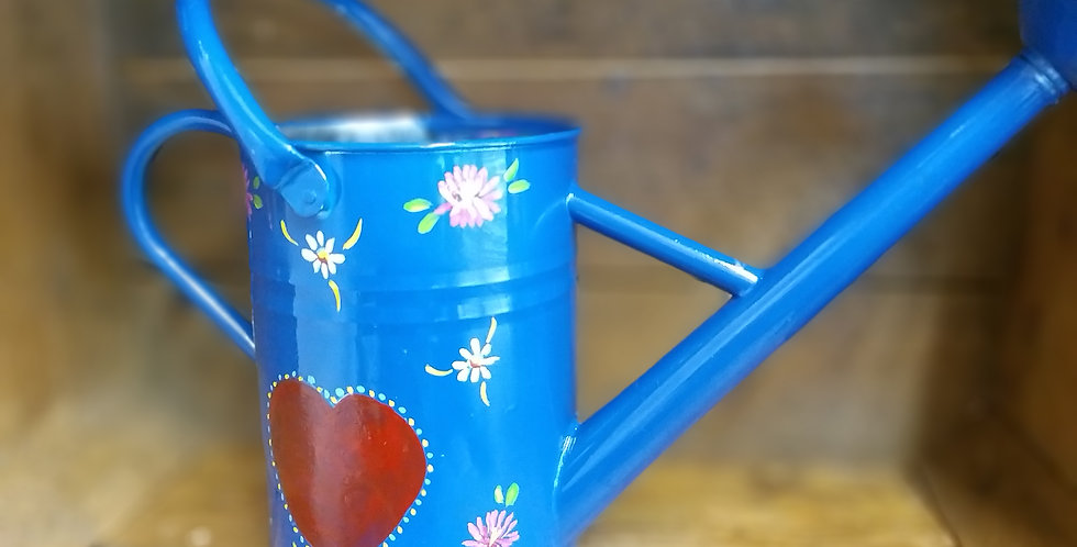Romany Rose Water Can Blue sm 15cms