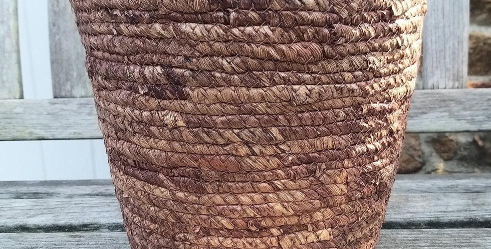 Basket Pot Straw Brown 24cms