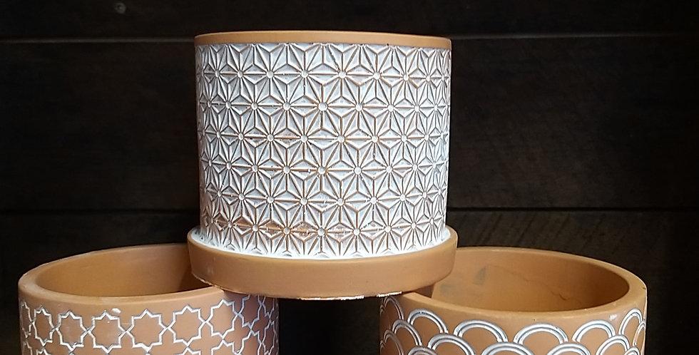 Ceramic  White  dec Rim Pots 10.5cms