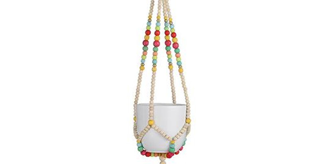 Beaded hanging pot holder 14cms