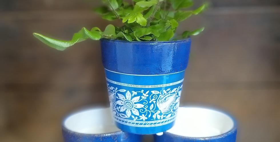 Ceramic Blue French Pots 9.5cms