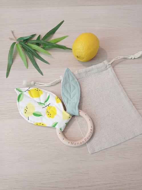 Hochet citron + petit pochon à personnaliser