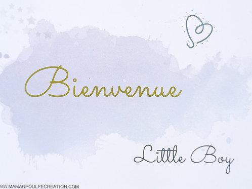 """Carte de naissance, babyshower garçon """" bienvenue little boy"""" bleu et doré"""