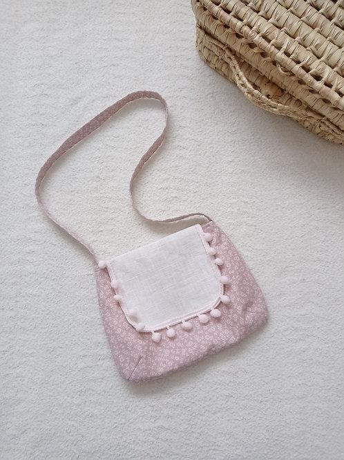 Petit sac à bandoulière pour fillette, rose et doré à imprimé fleuri. Fait main France par créatrice bébé Maman Poulpe