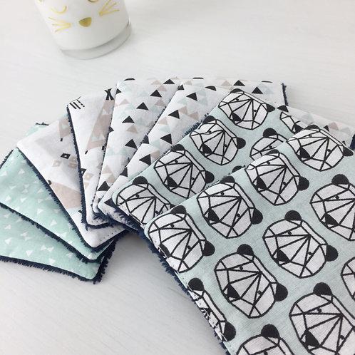 Lingettes pour bébé écologiques et réutilisables imprimé panda et tipis maman poulpe créations