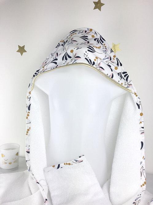Cape de bain bébé imprimé fleuri Anatolie Maman Poulpe Créations