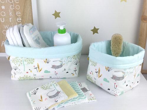 Panière de rangement Maman Poulpe Créations Elgato vert menthe blanc chat