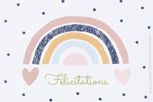 """Carte arc-en-ciel message """"félicitations"""" naissance bébé, anniversaire, babyshower"""