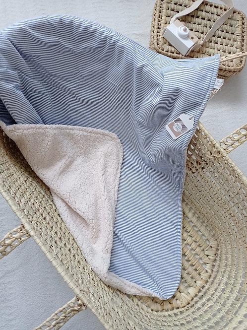 couverture bébé fine rayures bleu blanc maman poulpe