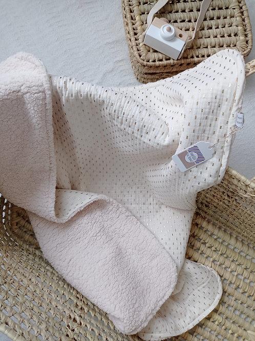 couverture bébé blanc écru crème petits rectangles dorés double gaze de coton maman poulpe