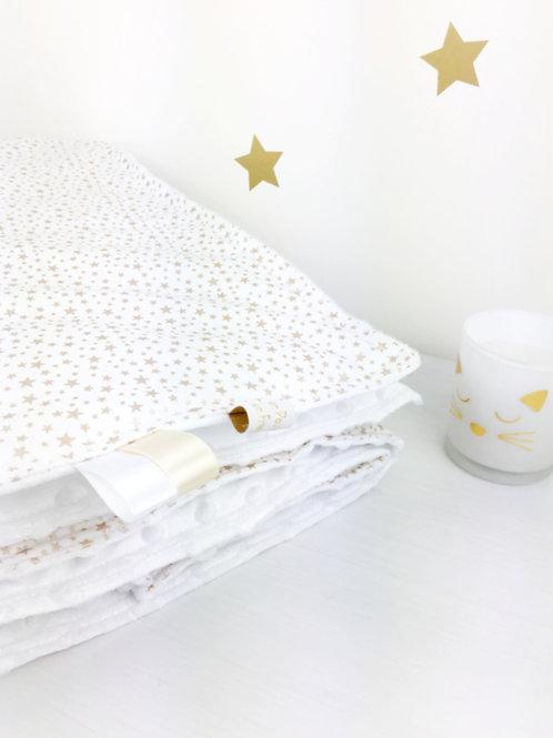Couverture bébé blanche toute douce à imprimé petites étoiles dorées