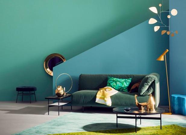 Barvy v interiéru působí skvěl, kdy jsou použité velkofomrítově. tat kombinace potřebuje trochu dvahy, ale stojí to za to.