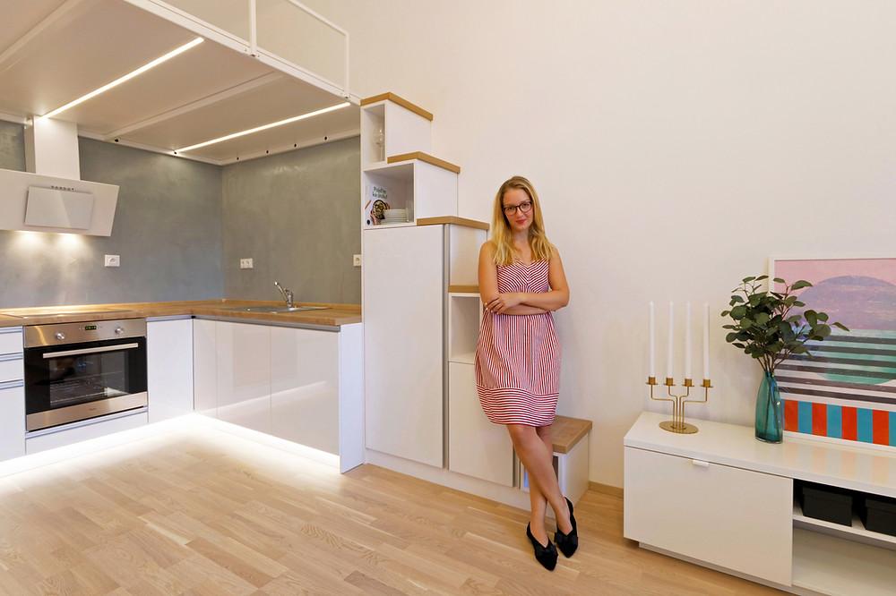 Brněnská interiérová desginérka Magdalena Ševčíková v nově zrekonstruované garsonce