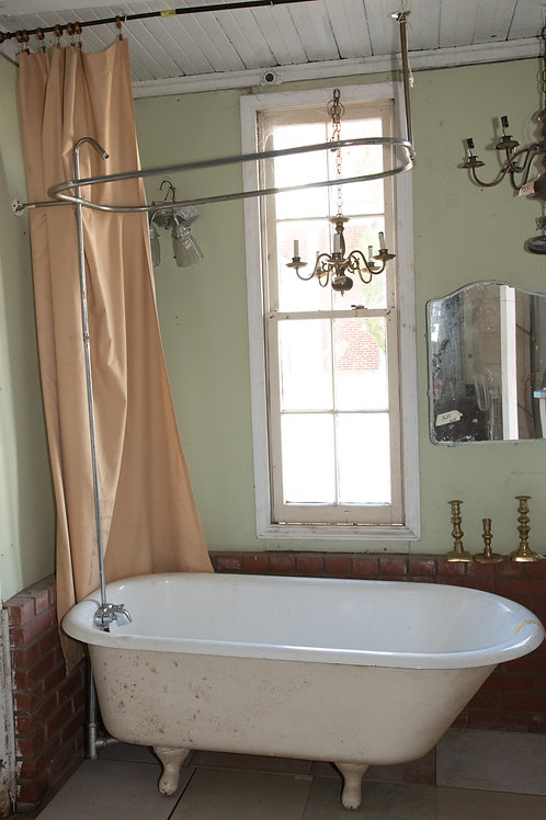 Cast Iron Tub with Shower Head and Curtain Ring