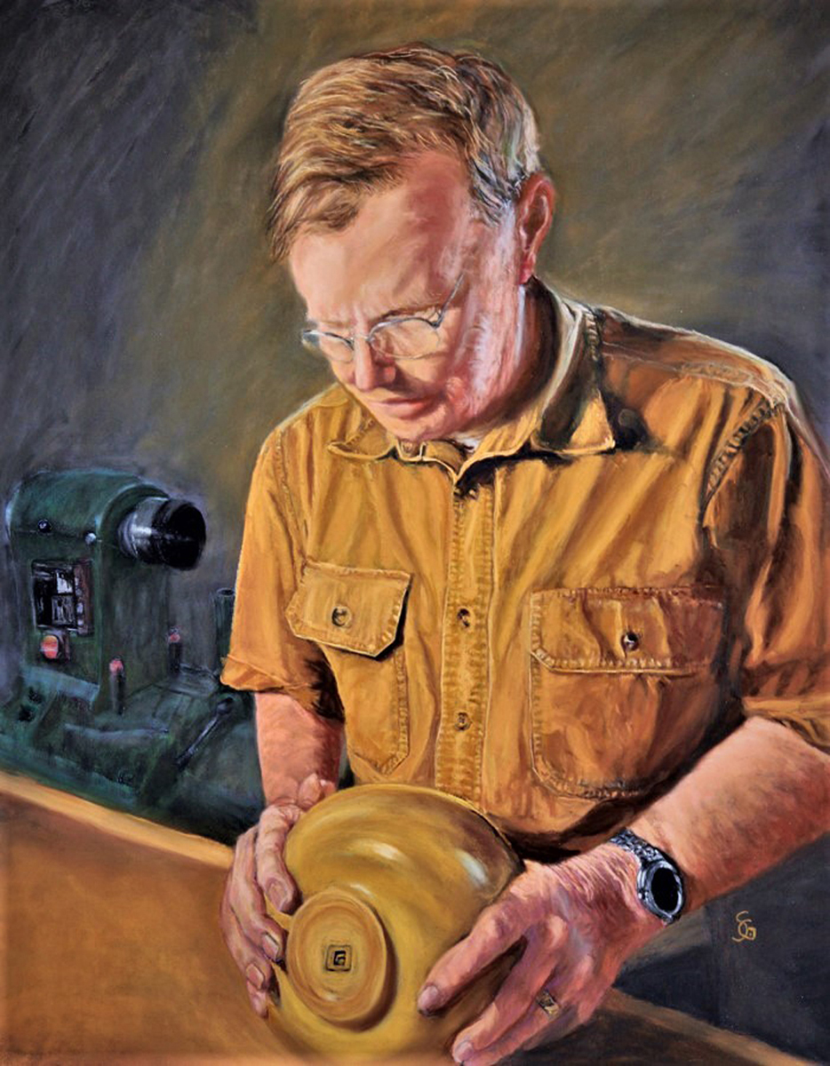 Woodworker with his Lathe
