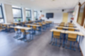 Empty classroom for biology lesson on se