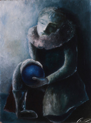With a blue ball
