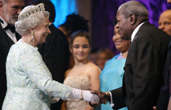 Céline Peterson is presented to Her Majesty Queen Elizabeth II alongside her father, Oscar Peterson, in 2002 at Roy Thomson Hall.