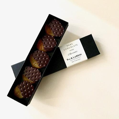 9th & Larkin dark chocolate dipped apricots
