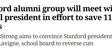 Merc News: Stanford alumni group will meet with school president in effort to save 11 sports
