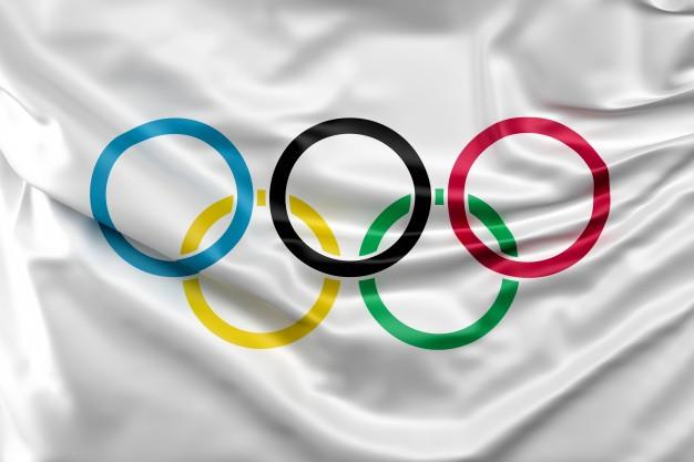 Bandeira com símbolo das Olimpíadas