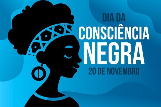 """Vetor com mulher negra e os escrito """"Dia da Consciência Negra - 20 de Novembro"""""""