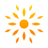 Annie Minnaar Complementary Therapist and Doula logo, orange sun.