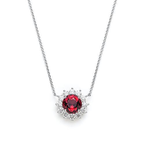 Round Garnet Flower Halo Necklace in White Gold